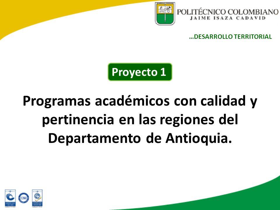 Programas académicos con calidad y pertinencia en las regiones del Departamento de Antioquia. …DESARROLLO TERRITORIAL Proyecto 1