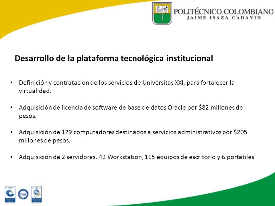 Desarrollo de la plataforma tecnológica institucional Definición y contratación de los servicios de Univérsitas XXI, para fortalecer la virtualidad. A