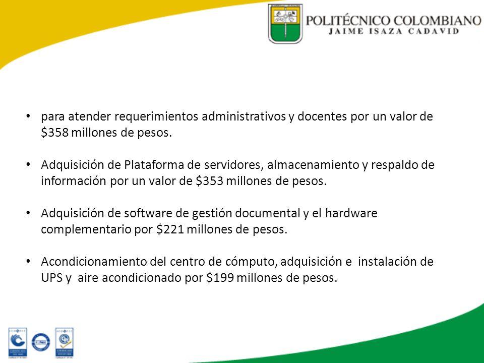 para atender requerimientos administrativos y docentes por un valor de $358 millones de pesos. Adquisición de Plataforma de servidores, almacenamiento