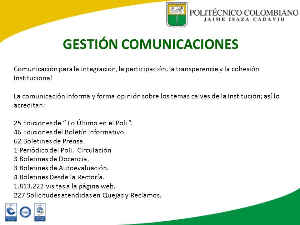 GESTIÓN COMUNICACIONES Comunicación para la integración, la participación, la transparencia y la cohesión Institucional La comunicación informa y form