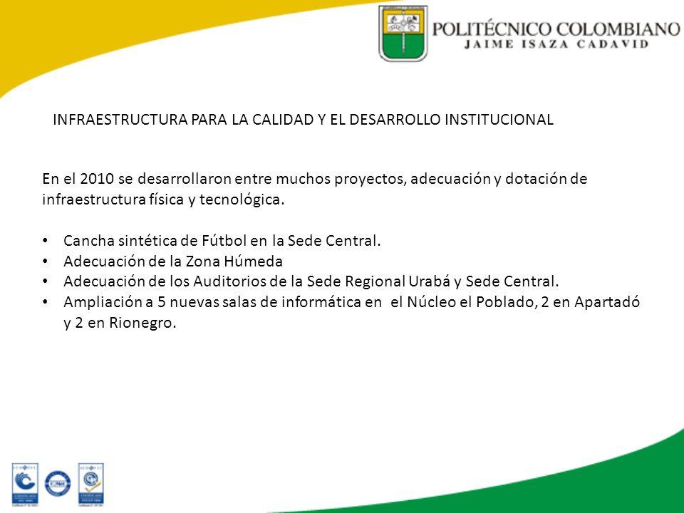 INFRAESTRUCTURA PARA LA CALIDAD Y EL DESARROLLO INSTITUCIONAL En el 2010 se desarrollaron entre muchos proyectos, adecuación y dotación de infraestruc