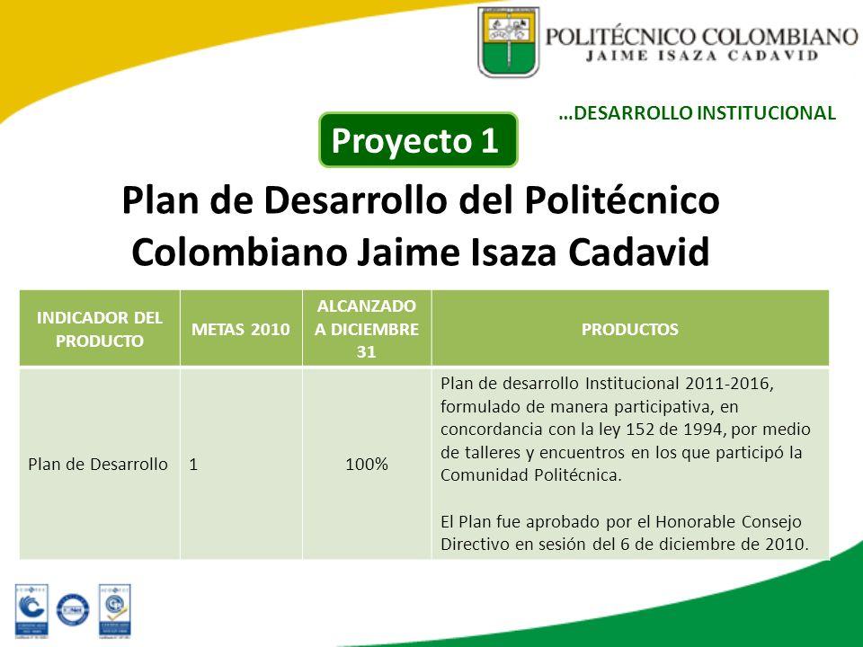 Plan de Desarrollo del Politécnico Colombiano Jaime Isaza Cadavid INDICADOR DEL PRODUCTO METAS 2010 ALCANZADO A DICIEMBRE 31 PRODUCTOS Plan de Desarro