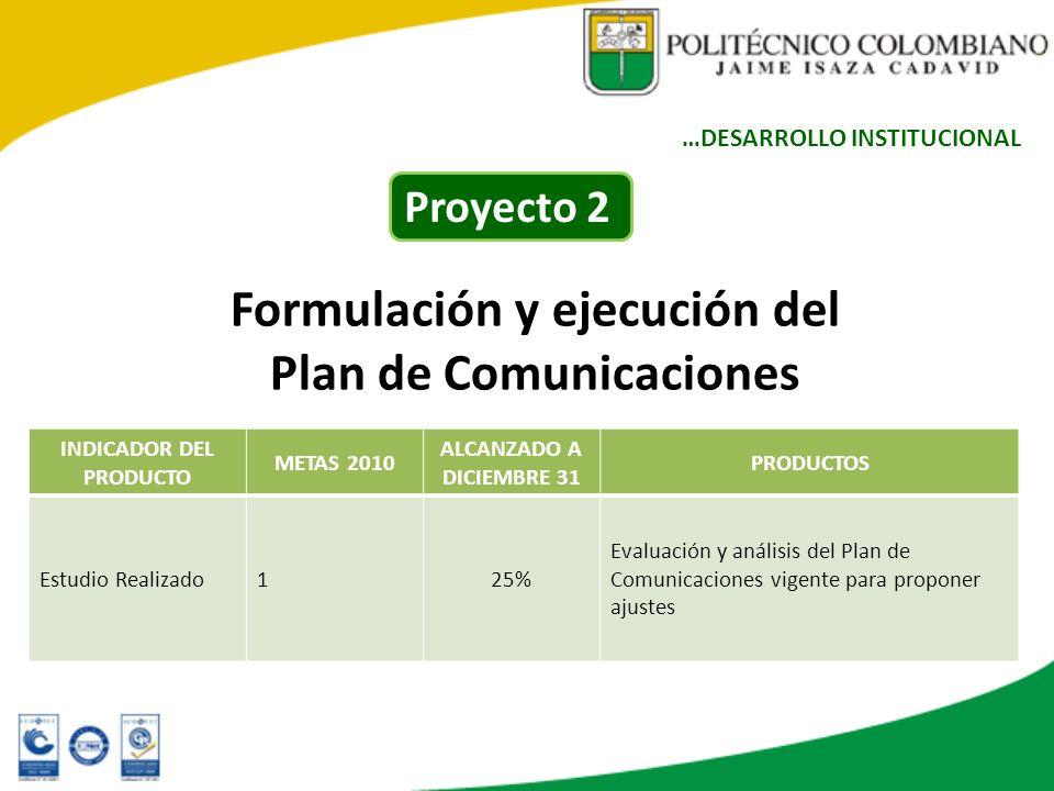 Formulación y ejecución del Plan de Comunicaciones INDICADOR DEL PRODUCTO METAS 2010 ALCANZADO A DICIEMBRE 31 PRODUCTOS Estudio Realizado125% Evaluaci
