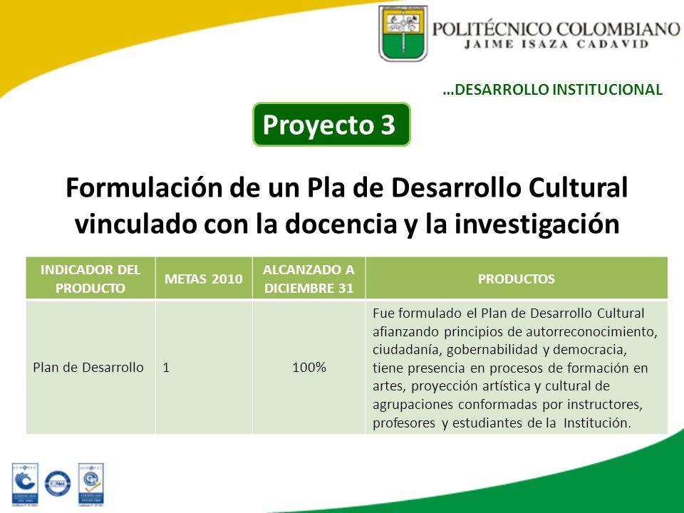 Formulación de un Pla de Desarrollo Cultural vinculado con la docencia y la investigación INDICADOR DEL PRODUCTO METAS 2010 ALCANZADO A DICIEMBRE 31 P