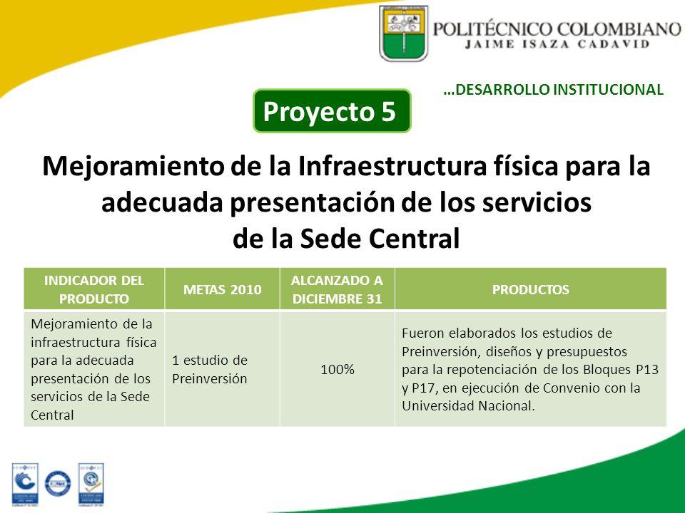 Mejoramiento de la Infraestructura física para la adecuada presentación de los servicios de la Sede Central INDICADOR DEL PRODUCTO METAS 2010 ALCANZAD