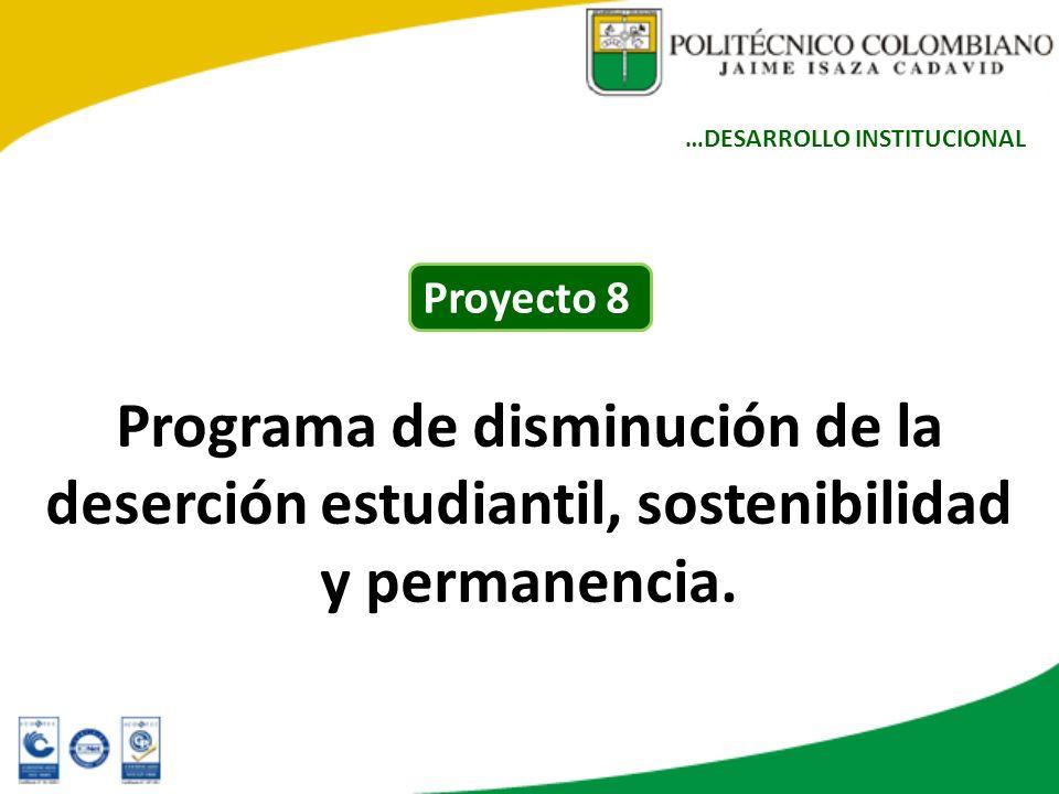 Programa de disminución de la deserción estudiantil, sostenibilidad y permanencia. …DESARROLLO INSTITUCIONAL Proyecto 8