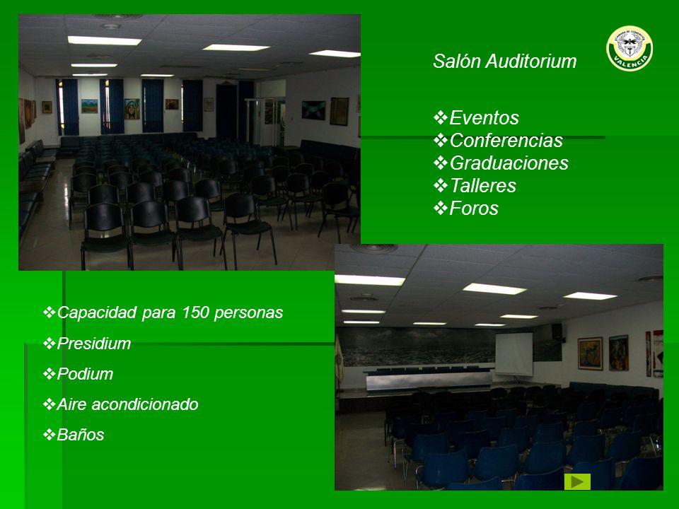 Capacidad para 150 personas Presidium Podium Aire acondicionado Baños Salón Auditorium Eventos Conferencias Graduaciones Talleres Foros