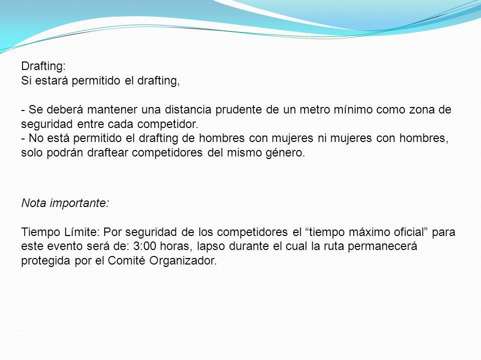 Drafting: Si estará permitido el drafting, - Se deberá mantener una distancia prudente de un metro mínimo como zona de seguridad entre cada competidor.