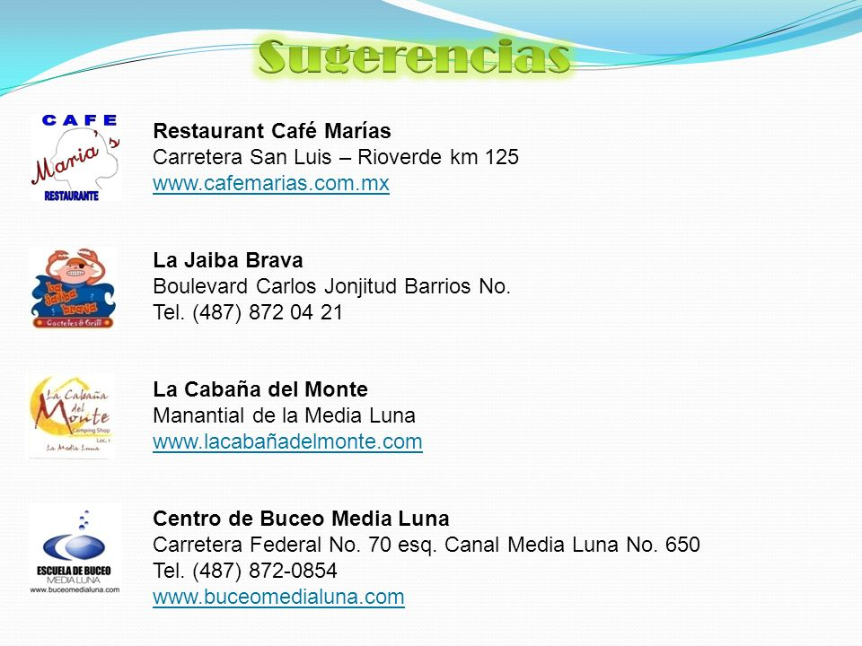 Restaurant Café Marías Carretera San Luis – Rioverde km 125 www.cafemarias.com.mx La Jaiba Brava Boulevard Carlos Jonjitud Barrios No.