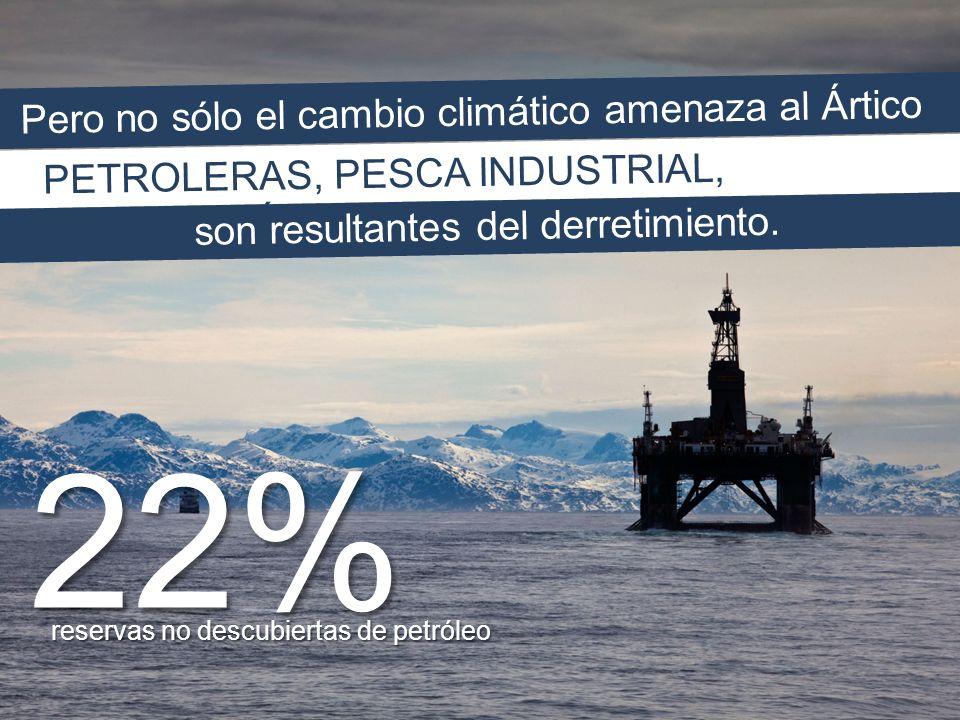 Pero no sólo el cambio climático amenaza al Ártico PETROLERAS, PESCA INDUSTRIAL, MILITARIZACIÓN son resultantes del derretimiento.