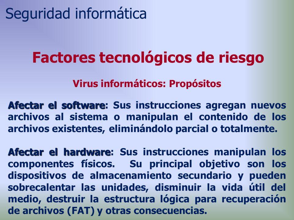 Afectar el software Afectar el software: Sus instrucciones agregan nuevos archivos al sistema o manipulan el contenido de los archivos existentes, eliminándolo parcial o totalmente.