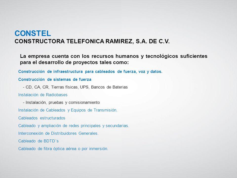 Construcción de infraestructura para cableados de fuerza, voz y datos. Construcción de sistemas de fuerza - CD, CA, CR, Tierras físicas, UPS, Bancos d