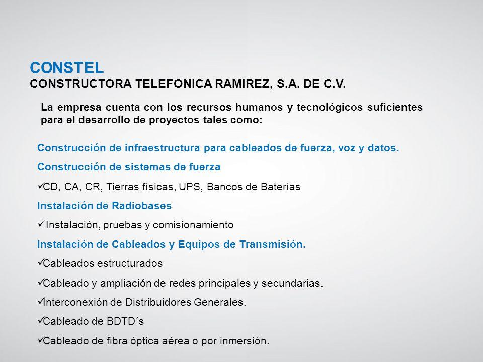 Construcción de infraestructura para cableados de fuerza, voz y datos. Construcción de sistemas de fuerza CD, CA, CR, Tierras físicas, UPS, Bancos de