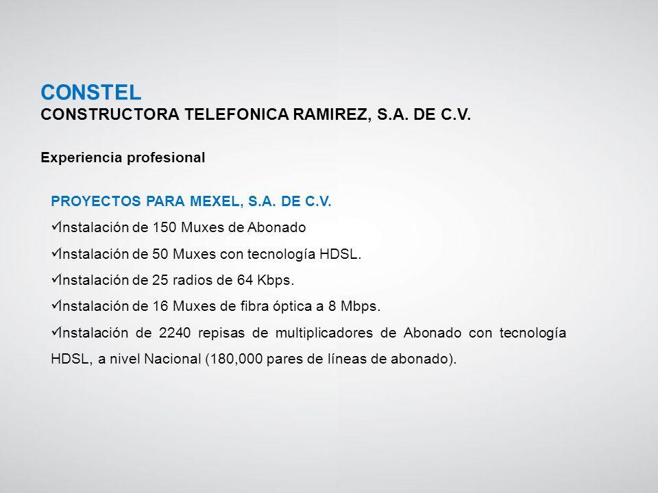 PROYECTOS PARA MEXEL, S.A. DE C.V. Instalación de 150 Muxes de Abonado Instalación de 50 Muxes con tecnología HDSL. Instalación de 25 radios de 64 Kbp
