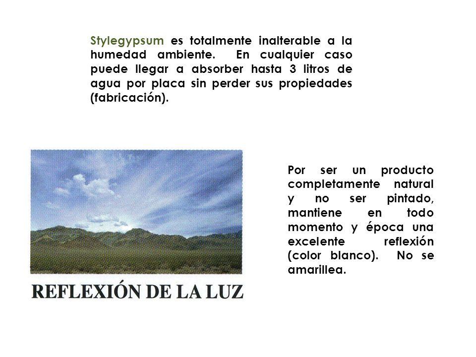Stylegypsum es totalmente inalterable a la humedad ambiente. En cualquier caso puede llegar a absorber hasta 3 litros de agua por placa sin perder sus