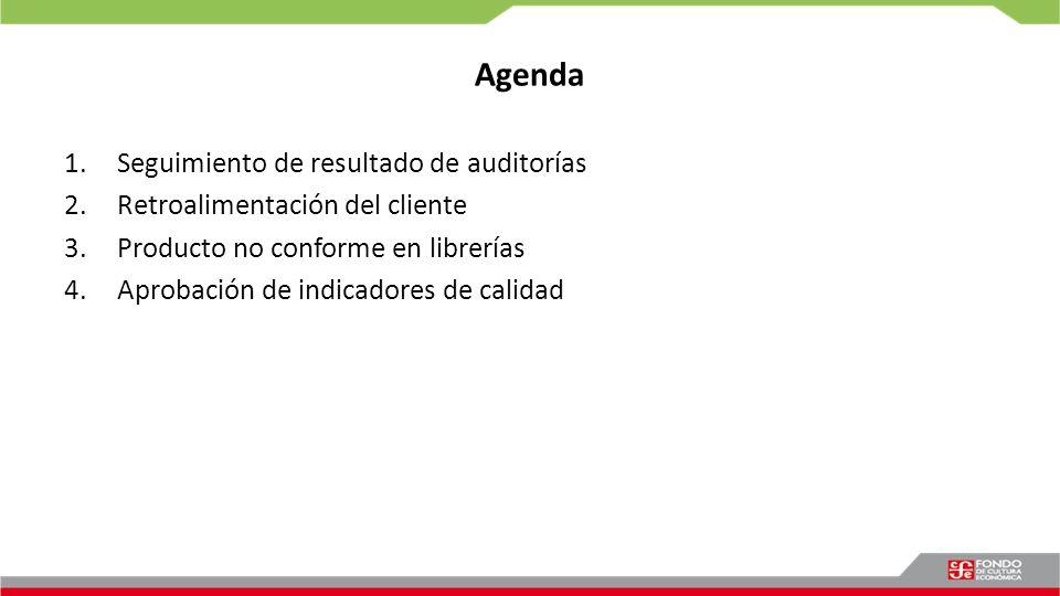 Agenda 1.Seguimiento de resultado de auditorías 2.Retroalimentación del cliente 3.Producto no conforme en librerías 4.Aprobación de indicadores de cal