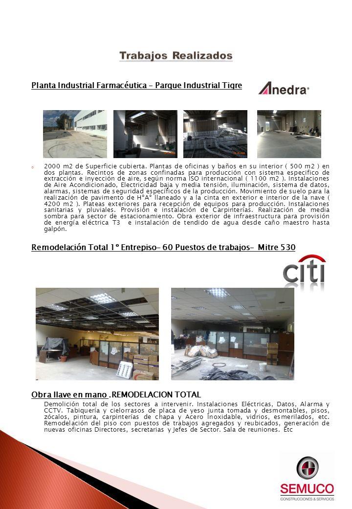 Planta Industrial Farmacéutica – Parque Industrial Tigre o 2000 m2 de Superficie cubierta. Plantas de oficinas y baños en su interior ( 500 m2 ) en do