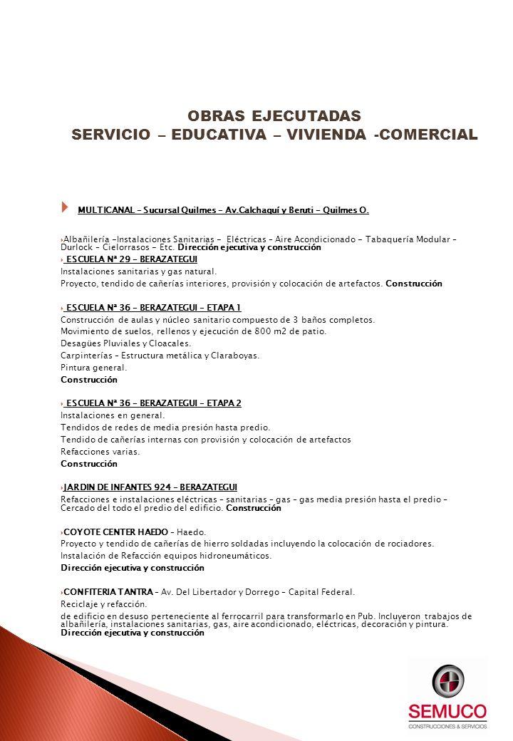 MULTICANAL – Sucursal Quilmes – Av.Calchaquí y Beruti – Quilmes O. Albañilería -Instalaciones Sanitarias - Eléctricas – Aire Acondicionado - Tabaquerí