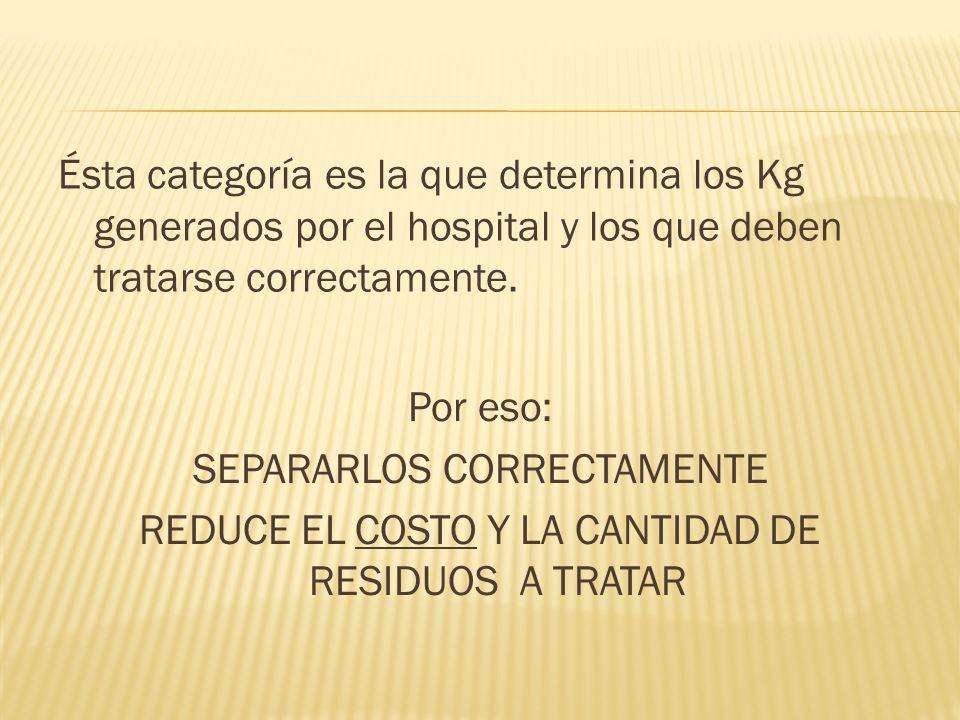 Ésta categoría es la que determina los Kg generados por el hospital y los que deben tratarse correctamente. Por eso: SEPARARLOS CORRECTAMENTE REDUCE E