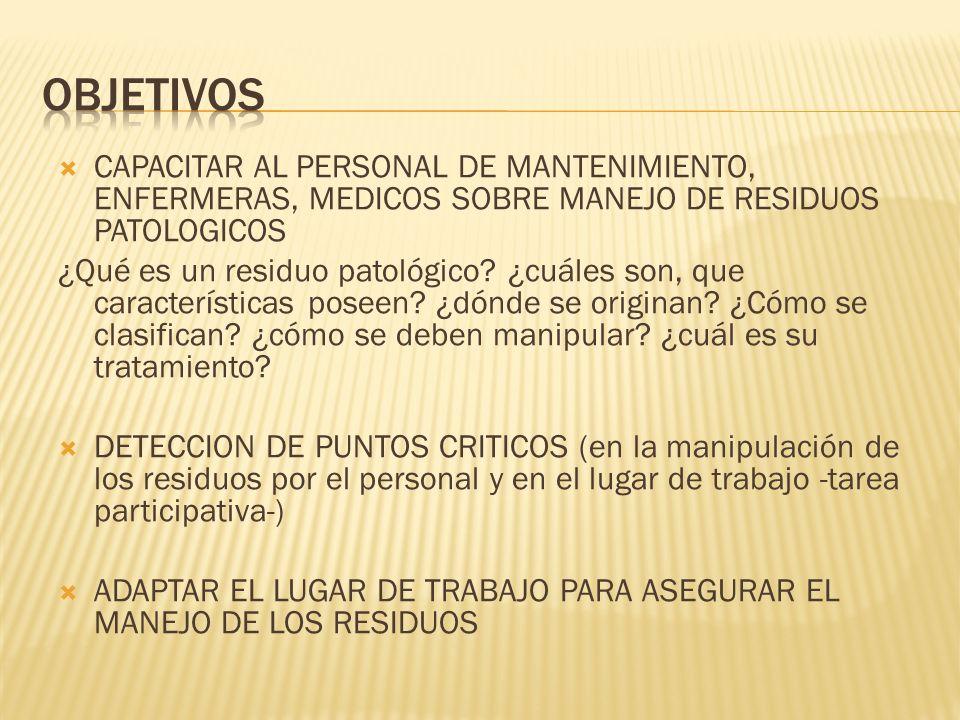 CAPACITAR AL PERSONAL DE MANTENIMIENTO, ENFERMERAS, MEDICOS SOBRE MANEJO DE RESIDUOS PATOLOGICOS ¿Qué es un residuo patológico? ¿cuáles son, que carac