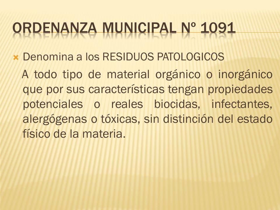 Denomina a los RESIDUOS PATOLOGICOS A todo tipo de material orgánico o inorgánico que por sus características tengan propiedades potenciales o reales