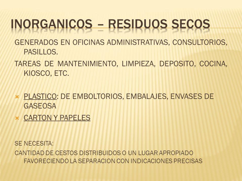 GENERADOS EN OFICINAS ADMINISTRATIVAS, CONSULTORIOS, PASILLOS. TAREAS DE MANTENIMIENTO, LIMPIEZA, DEPOSITO, COCINA, KIOSCO, ETC. PLASTICO: DE EMBOLTOR