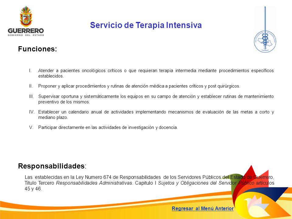 Servicio de Terapia Intensiva Funciones: Responsabilidades: Las establecidas en la Ley Numero 674 de Responsabilidades de los Servidores Públicos del
