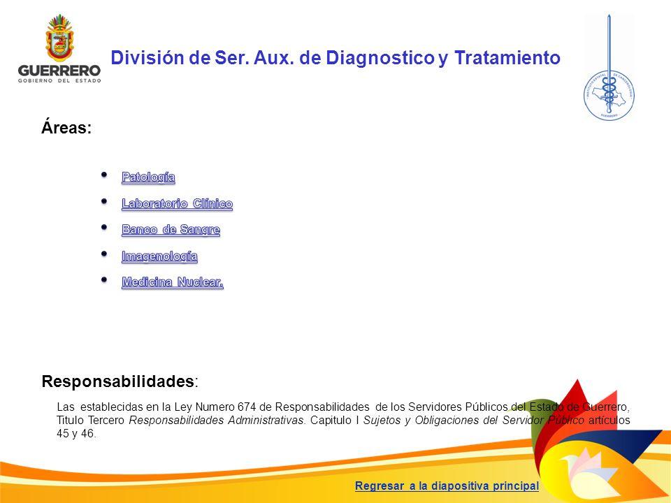 División de Ser. Aux. de Diagnostico y Tratamiento Responsabilidades: Las establecidas en la Ley Numero 674 de Responsabilidades de los Servidores Púb