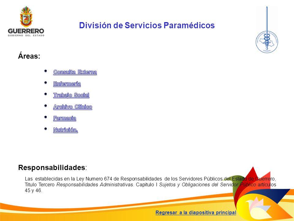 División de Servicios Paramédicos Responsabilidades: Las establecidas en la Ley Numero 674 de Responsabilidades de los Servidores Públicos del Estado
