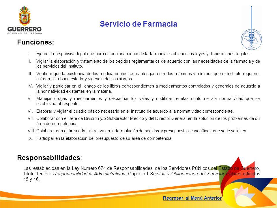 Servicio de Farmacia Funciones: Responsabilidades: Las establecidas en la Ley Numero 674 de Responsabilidades de los Servidores Públicos del Estado de