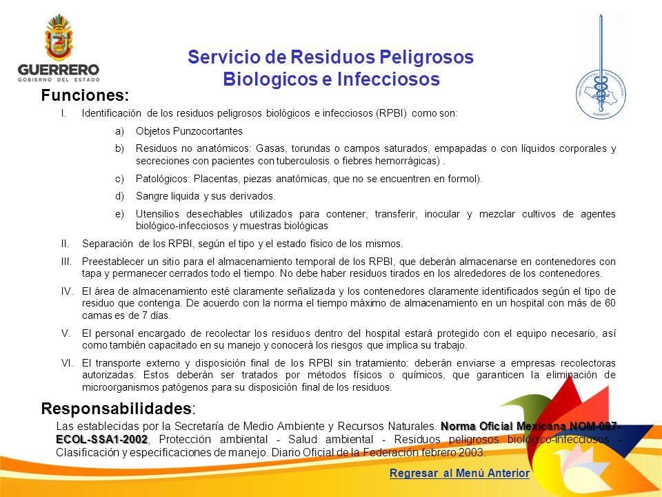 Servicio de Residuos Peligrosos Biologicos e Infecciosos Funciones: Responsabilidades: Norma Oficial Mexicana NOM-087- ECOL-SSA1-2002 Las establecidas