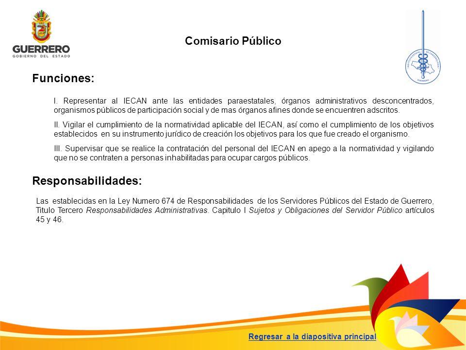 Comisario Público Funciones: Responsabilidades: Las establecidas en la Ley Numero 674 de Responsabilidades de los Servidores Públicos del Estado de Gu