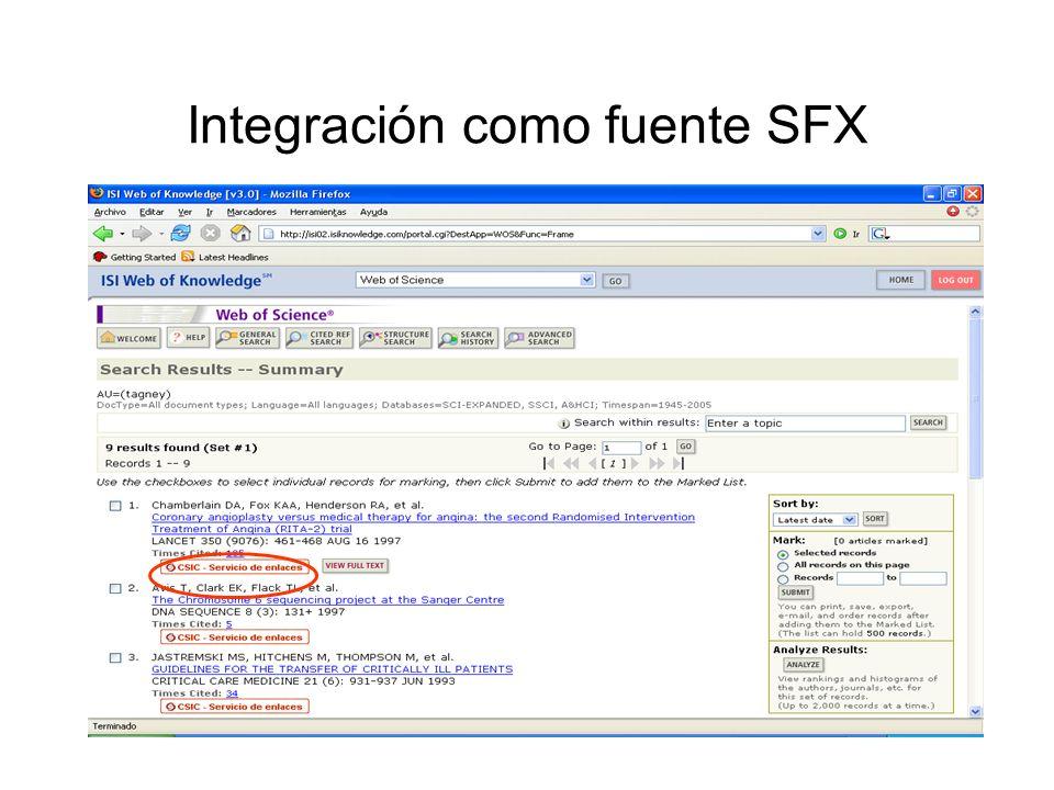 Integración como fuente SFX