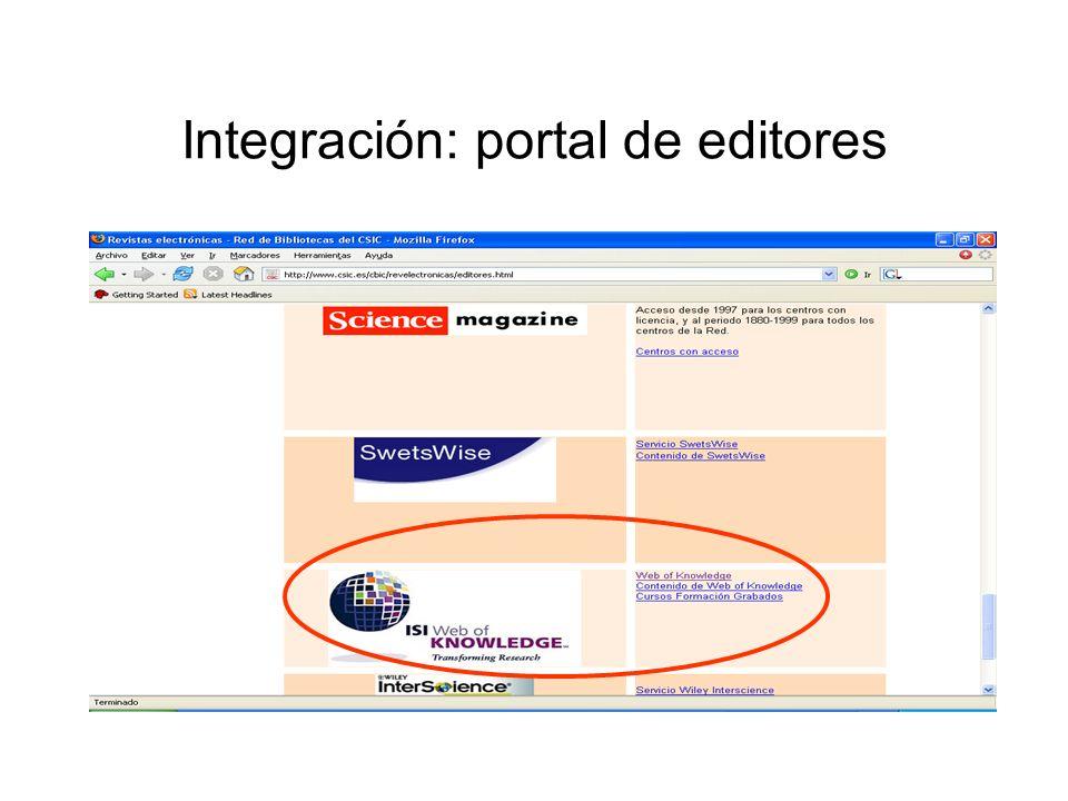 Integración: portal de editores