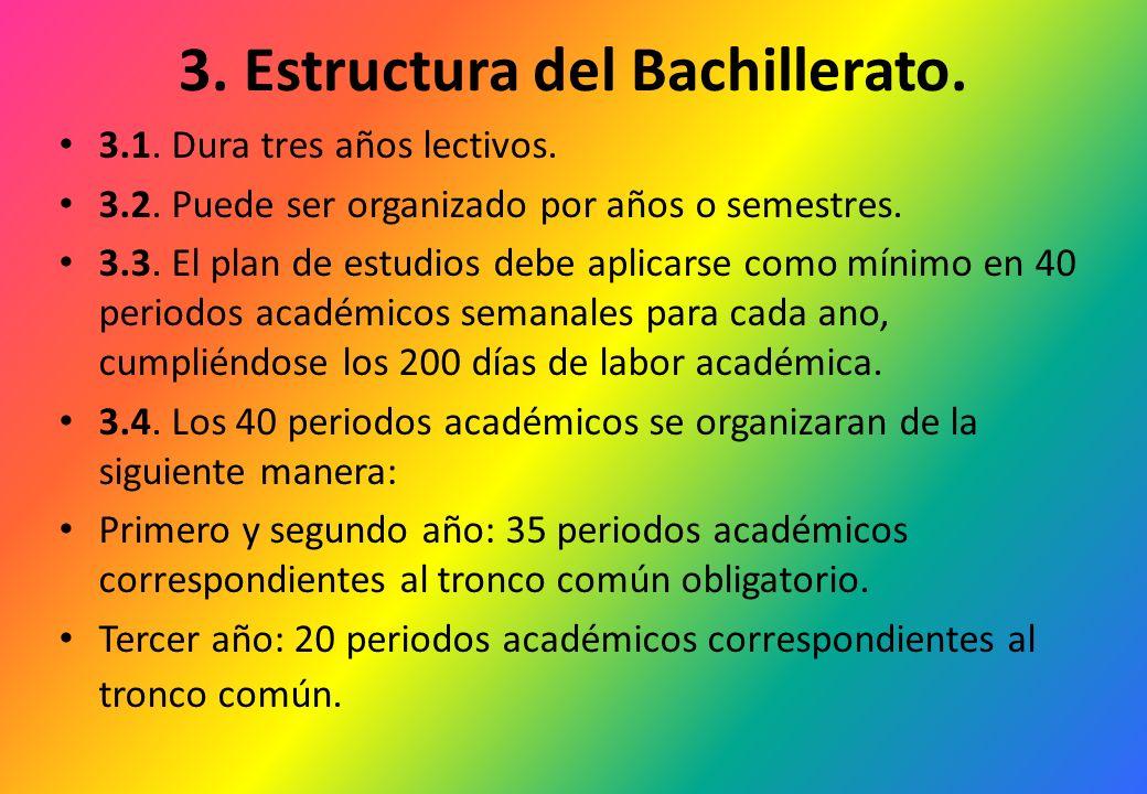 3. Estructura del Bachillerato. 3.1. Dura tres años lectivos. 3.2. Puede ser organizado por años o semestres. 3.3. El plan de estudios debe aplicarse