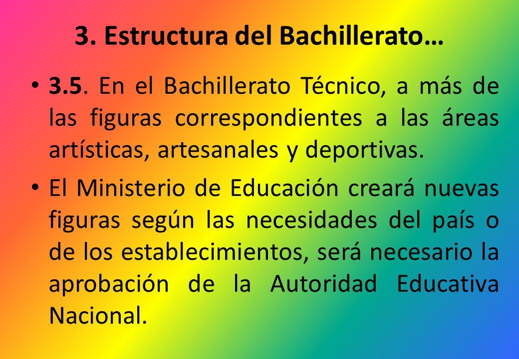 3. Estructura del Bachillerato… 3.5. En el Bachillerato Técnico, a más de las figuras correspondientes a las áreas artísticas, artesanales y deportiva