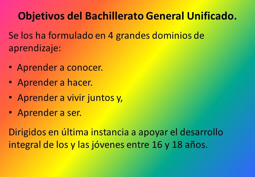 Objetivos del Bachillerato General Unificado. Se los ha formulado en 4 grandes dominios de aprendizaje: Aprender a conocer. Aprender a hacer. Aprender