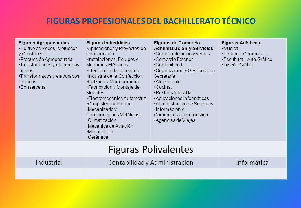 FIGURAS PROFESIONALES DEL BACHILLERATO TÉCNICO Figuras Agropecuarias: Cultivo de Peces, Moluscos y Crustáceos Producción Agropecuaria Transformados y