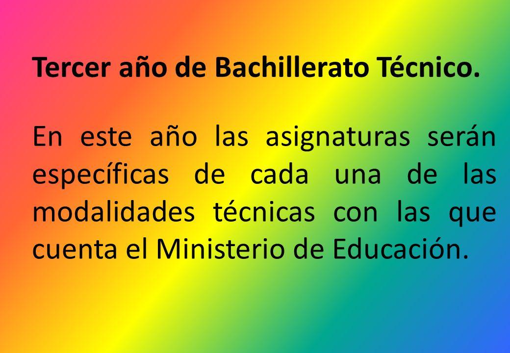 Tercer año de Bachillerato Técnico. En este año las asignaturas serán específicas de cada una de las modalidades técnicas con las que cuenta el Minist