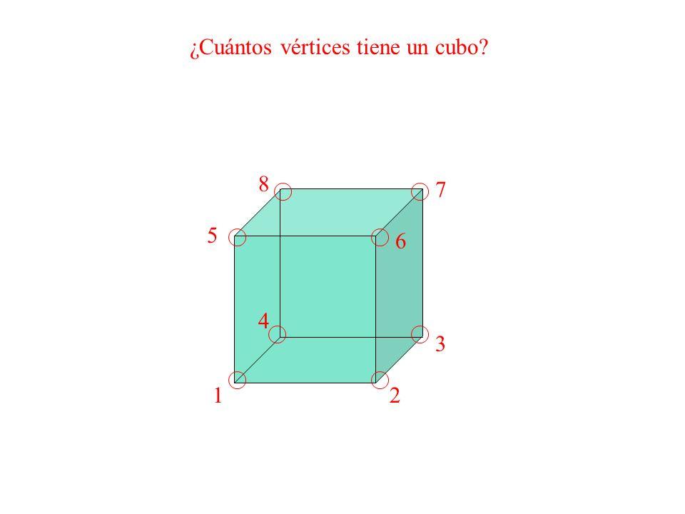 ¿Cuántos vértices tiene un cubo? 12 3 4 5 6 7 8