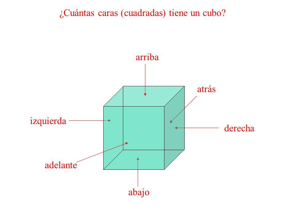 ¿Cuántas caras (cuadradas) tiene un cubo? atrás abajo derecha izquierda adelante arriba