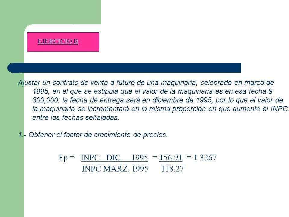 EJERCICIO B Ajustar un contrato de venta a futuro de una maquinaria, celebrado en marzo de 1995, en el que se estipula que el valor de la maquinaria es en esa fecha $ 300,000; la fecha de entrega será en diciembre de 1995, por lo que el valor de la maquinaria se incrementará en la misma proporción en que aumente el INPC entre las fechas señaladas.