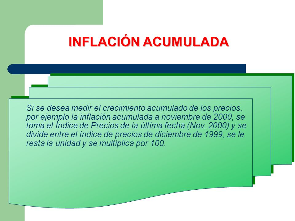 INFLACIÓN ACUMULADA Si se desea medir el crecimiento acumulado de los precios, por ejemplo la inflación acumulada a noviembre de 2000, se toma el Índice de Precios de la última fecha (Nov.