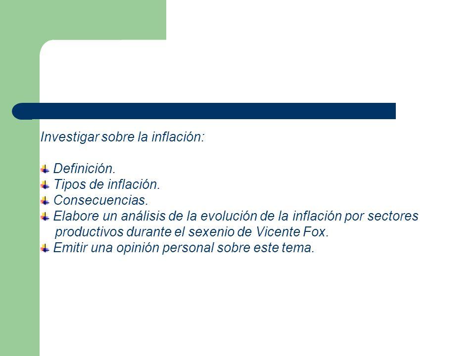 Investigar sobre la inflación: Definición. Tipos de inflación. Consecuencias. Elabore un análisis de la evolución de la inflación por sectores product