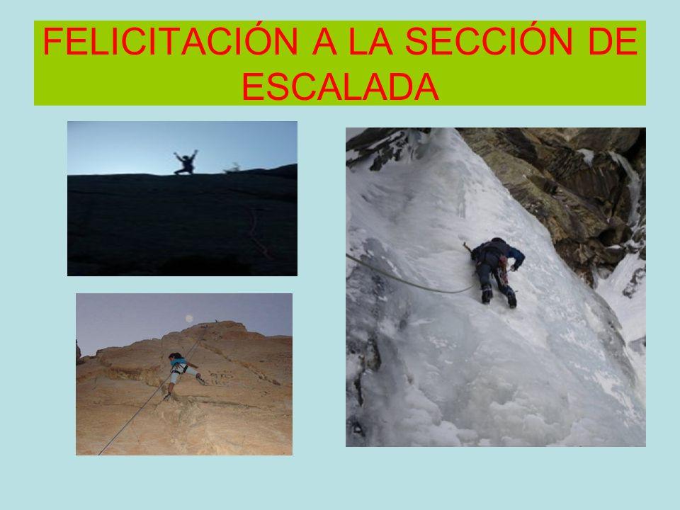 FELICITACIÓN A LA SECCIÓN DE ESCALADA