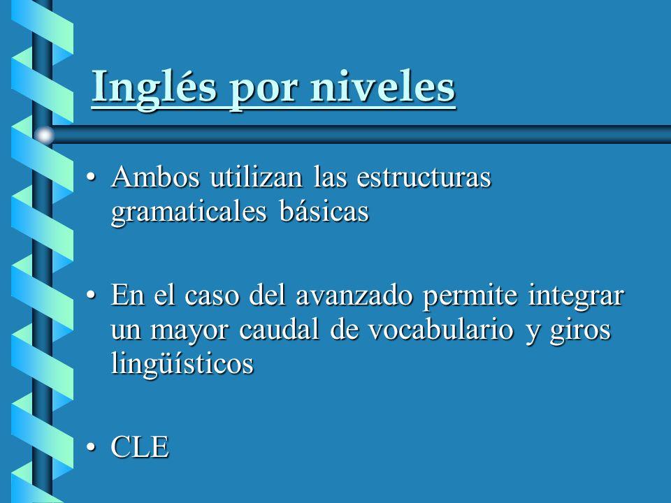 Inglés por niveles Ambos utilizan las estructuras gramaticales básicasAmbos utilizan las estructuras gramaticales básicas En el caso del avanzado permite integrar un mayor caudal de vocabulario y giros lingüísticosEn el caso del avanzado permite integrar un mayor caudal de vocabulario y giros lingüísticos CLECLE