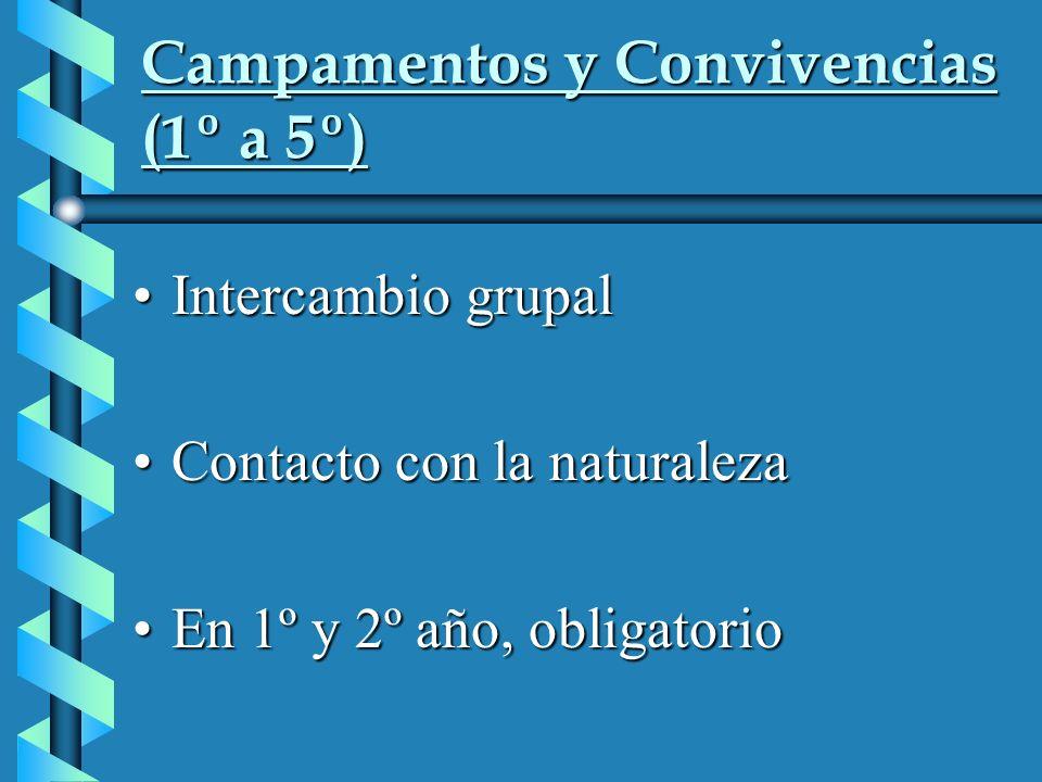 Campamentos y Convivencias (1º a 5º) Intercambio grupalIntercambio grupal Contacto con la naturalezaContacto con la naturaleza En 1º y 2º año, obligatorioEn 1º y 2º año, obligatorio