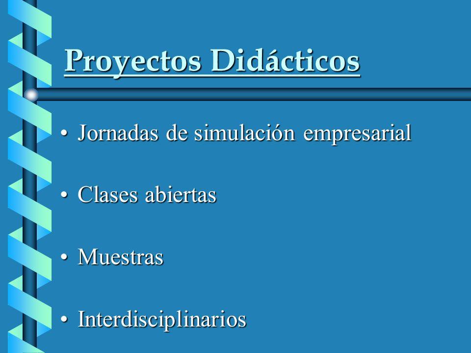 Proyectos Didácticos Jornadas de simulación empresarialJornadas de simulación empresarial Clases abiertasClases abiertas MuestrasMuestras InterdisciplinariosInterdisciplinarios