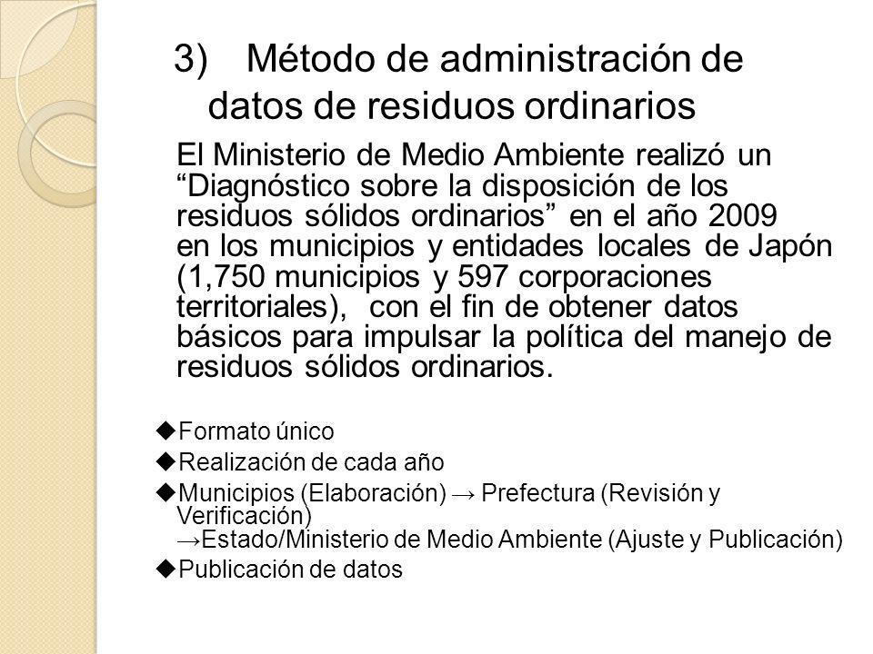 3) Método de administración de datos de residuos ordinarios El Ministerio de Medio Ambiente realizó un Diagnóstico sobre la disposición de los residuo