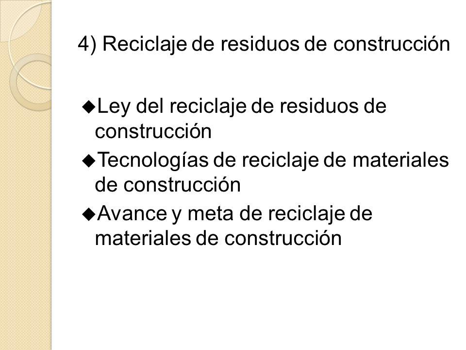 4) Reciclaje de residuos de construcción Ley del reciclaje de residuos de construcción Tecnologías de reciclaje de materiales de construcción Avance y meta de reciclaje de materiales de construcción